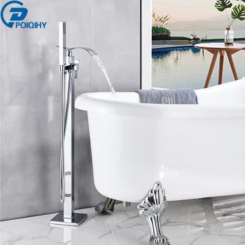 POIQIHY mosiądz chromowany podłogowy łazienka wodospad kran wannowy wanna Filler bateria łazienkowa ręczny prysznic wanna prysznic zestaw tanie i dobre opinie CN (pochodzenie) NONE Klasyczny PHY110 Bateria podłogowa ciepła i zimna woda Dwa uchwyty do sterowania ceramic POWLEKANE ELEKTROLITYCZNIE
