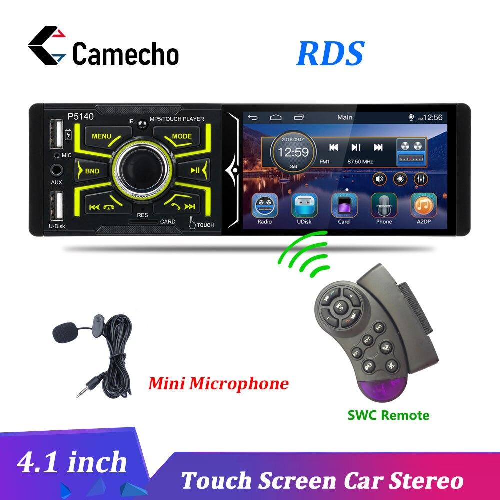 Camecho autoradios 4.1 pouces ecran tactile Autoradio Bluetooth Auto Audio stéréo FM USB SD un Din Microphone universel Autoradio