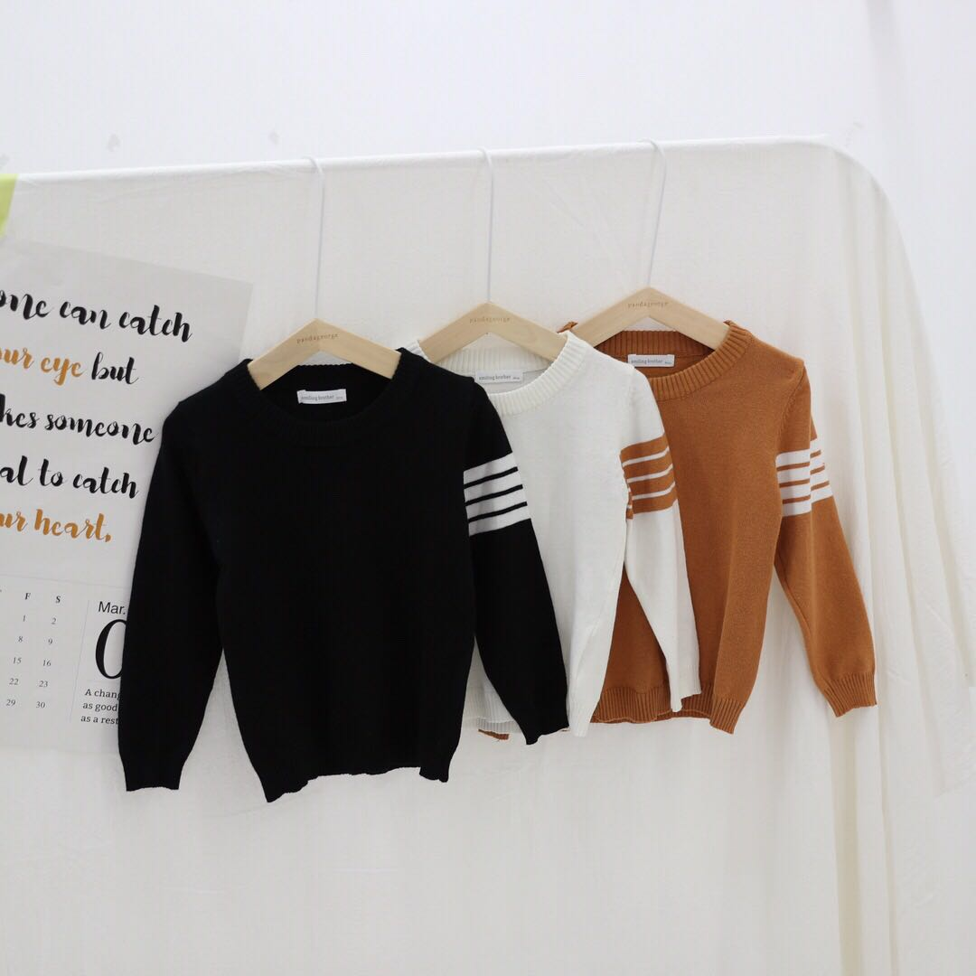 Autumn Baby Boys Sweater Toddler Boys O-Neck Jumper Knitwear Long-Sleeve Fashion Sweaters Children Clothes Kids Striped Coats