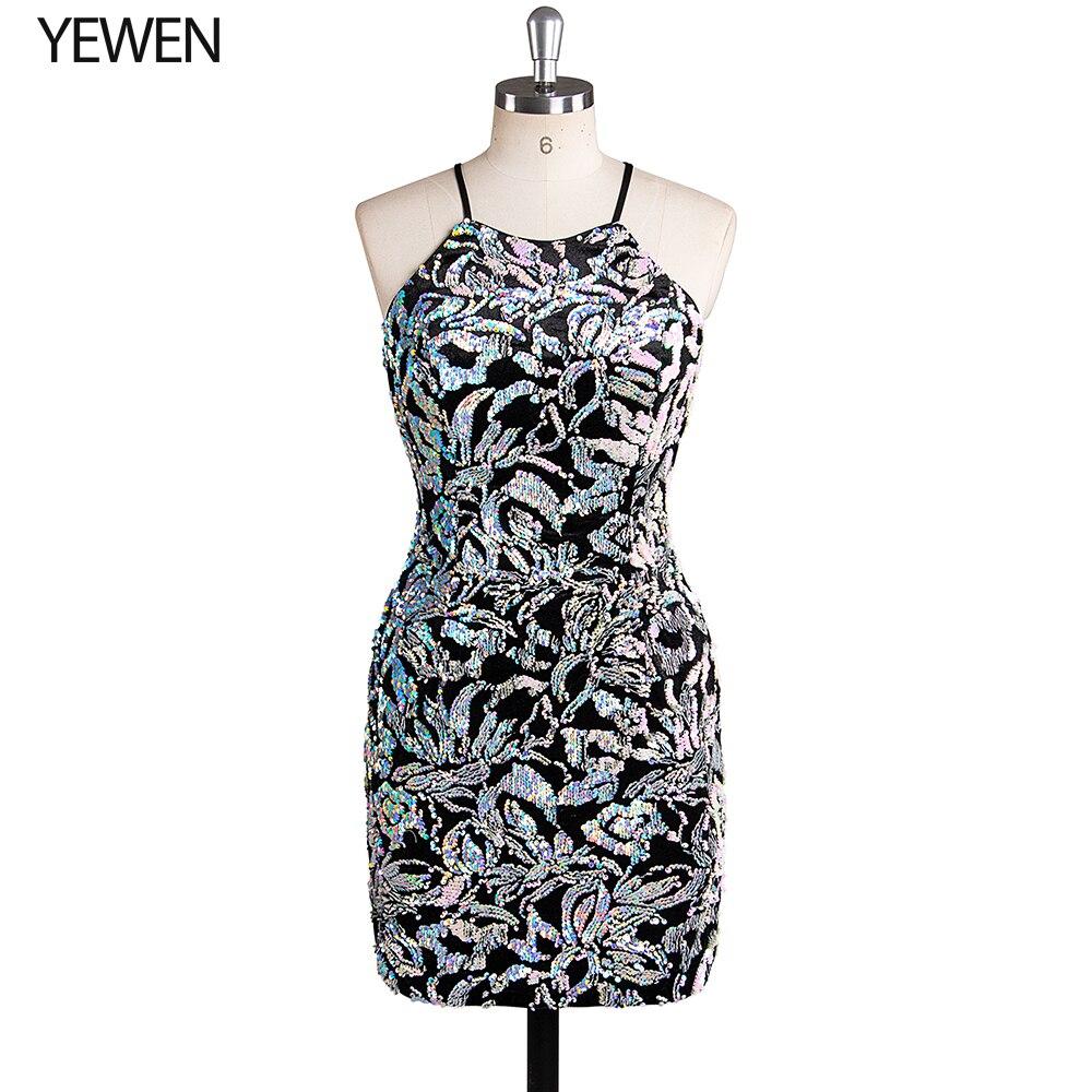 Черные блестящие коктейльные платья с v-образным вырезом на тонких бретелях с аппликацией и блестками Короткие вечерние платья Vestido Coctel