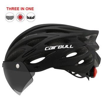 Mais novo bicicleta de estrada mountain bike capacete com tt lens & viseira das mulheres dos homens ciclismo capacete com luz traseira esportes mtb capacete da bicicleta 1