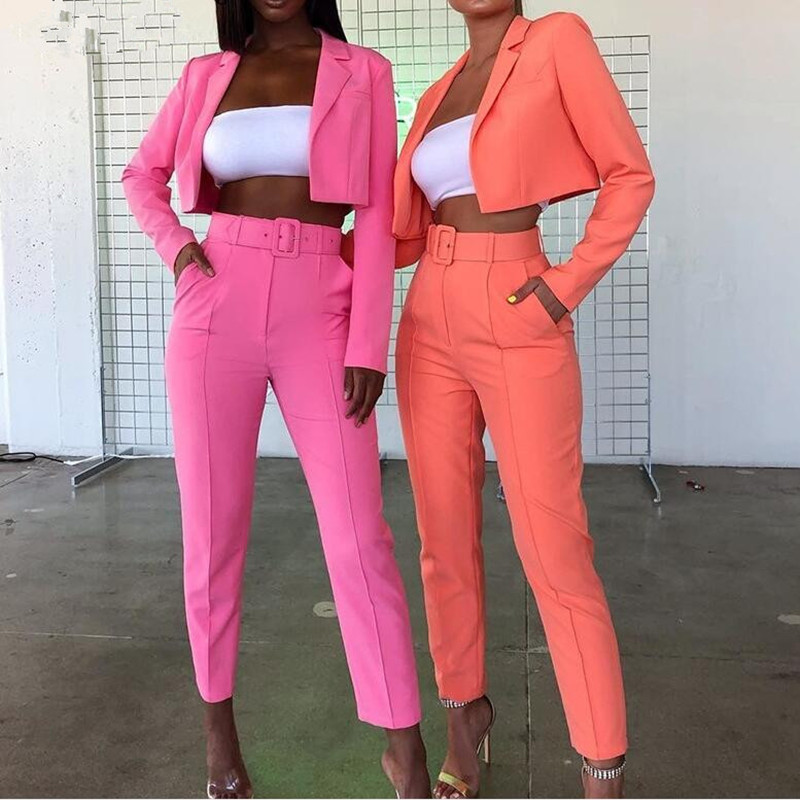 High Waist Sexy Candy Colors Cardigan Jacket And Pants Two Piece Set Women Long Sleeve Blazer Top With Pants Outfits Free Belt