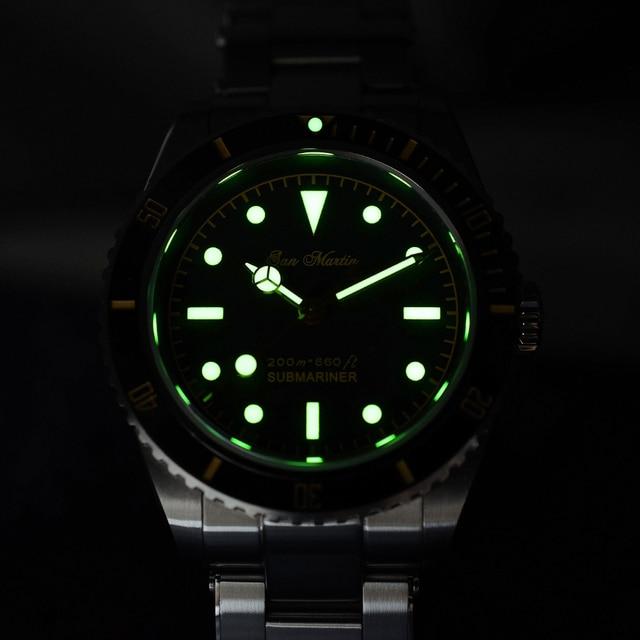 San Martin Diver Watch 6200 Retro Water Ghost Luxury Sapphire NH35 Men Automatic Mechanical Watches 20Bar Waterproof Luminous 6