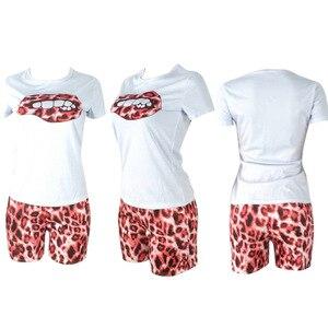 Image 5 - ZOOEFFBB Plus Größe Zwei Stück Set Trainingsanzug Lippen Kurzarm Top + Leopard Shorts Festival Passenden Sets 2 Stück Outfits für Frauen