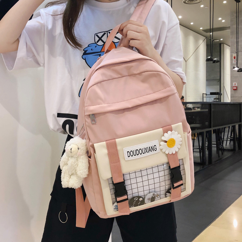 JULYCCINO Cute female student backpack Women Flower Female Harajuku School Bags Waterproof nylon Kawaii Backpack Ladies Book bag