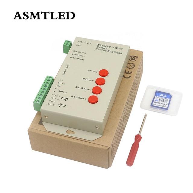 DC5 ~ 24V T 1000S 128G 256G RGB 컨트롤러 T1000S SD 카드 APA102 WS2801 WS2811 WS2812B LPD6803 DMX512 LED 2048 픽셀 컨트롤러
