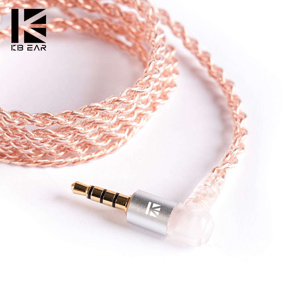 KB EAR 4 Core Copper Cable With Metal 2pin QDC Connector With Mic Use For ZS10 PRO ZSN PRO AS16 ZSN AS10