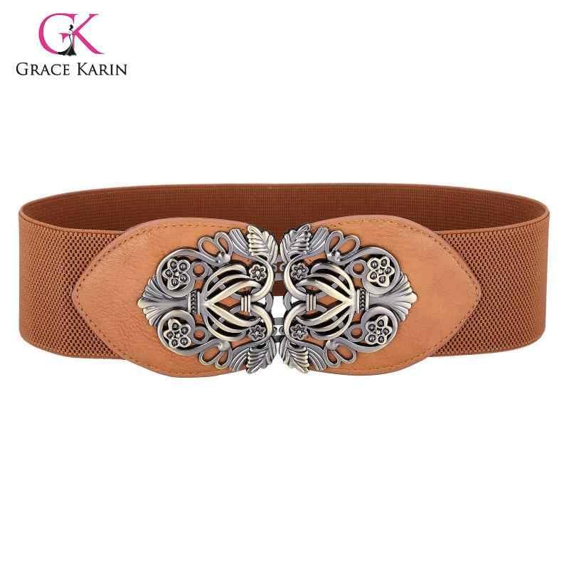 Grace Karin haute ceinture extensible Vintage rétro métal boucle ceinture en cuir 2020 nouveau créateur de mode ceinture femmes ceinture