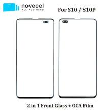 2 в 1 A+ Переднее внешнее стекло с OCA в сборе для samsung Galaxy S10 S10 Plus S10E G973 G975 Запасное стекло с трещинами