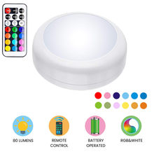 RGB 13Colors LED Under Cabinet Light Dimmable Touch Sensor LED Puck Lights For Cupboard Close Wardrobe Stair Hallway Night Lamp(China)