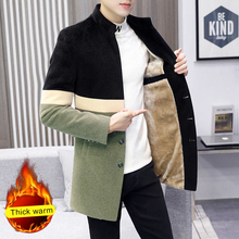 Winter Color Stand Collar Men's Suit Medium Length Plush Thickened And Slim Woolen Blazer Long Thick Warm Jacket Men Trench Coat