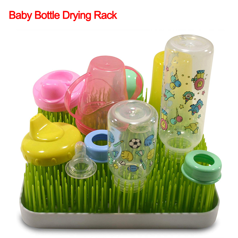 Baby Bottle Drying Rack Baby Feeding Bottles Cleaning Drying Rack Storage Nipple Pacifier Imitation Lawn Container Shelf  J74