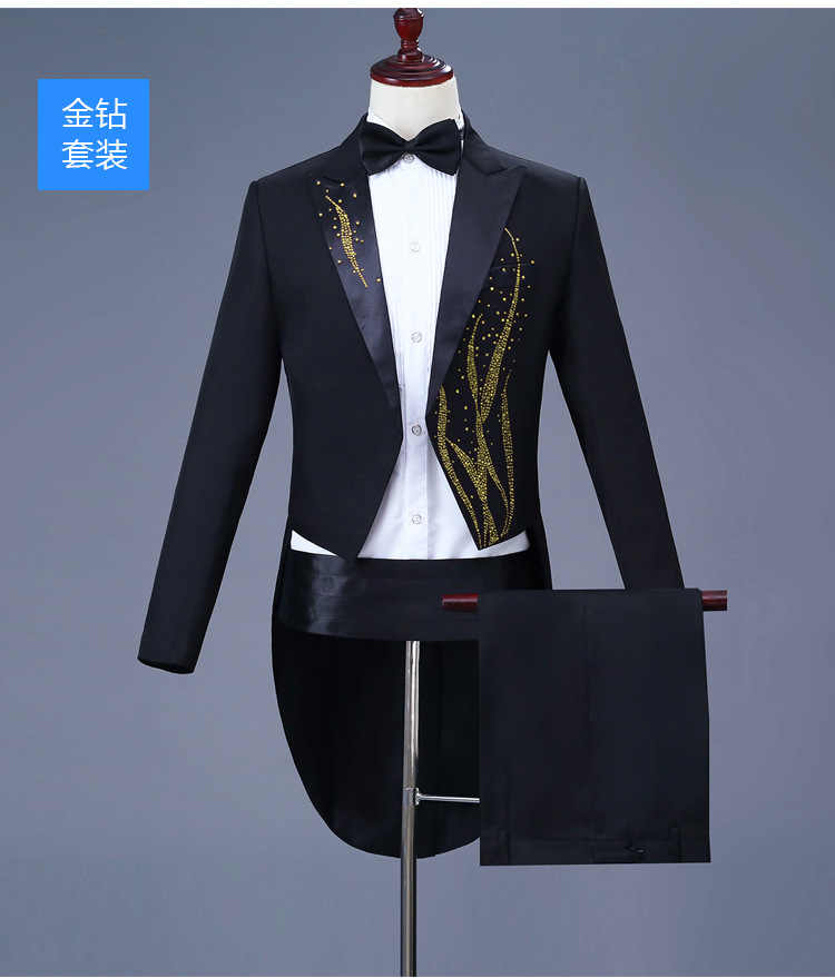 Mens Gold Diamond Embroidery Tuxedo Tailcoat Slim Fit 4 Ppcs Dress Suit Men Party Wedding Dinner Jacket Swallow-Tailed Coat 4XL