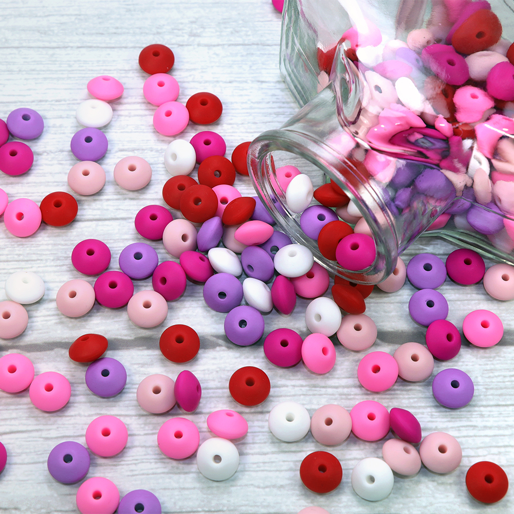 BOBO.BOX 50pcs Silicone Lentil Beads 12mm Food Grade Silicone Baby Teething Products Chews Pacifier Chain Clips Baby Teethers