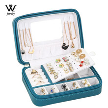 Jewelry-Box Ring-Storage-Box Mirror Earring Travel Necklace Portable Zipper with Multifunction