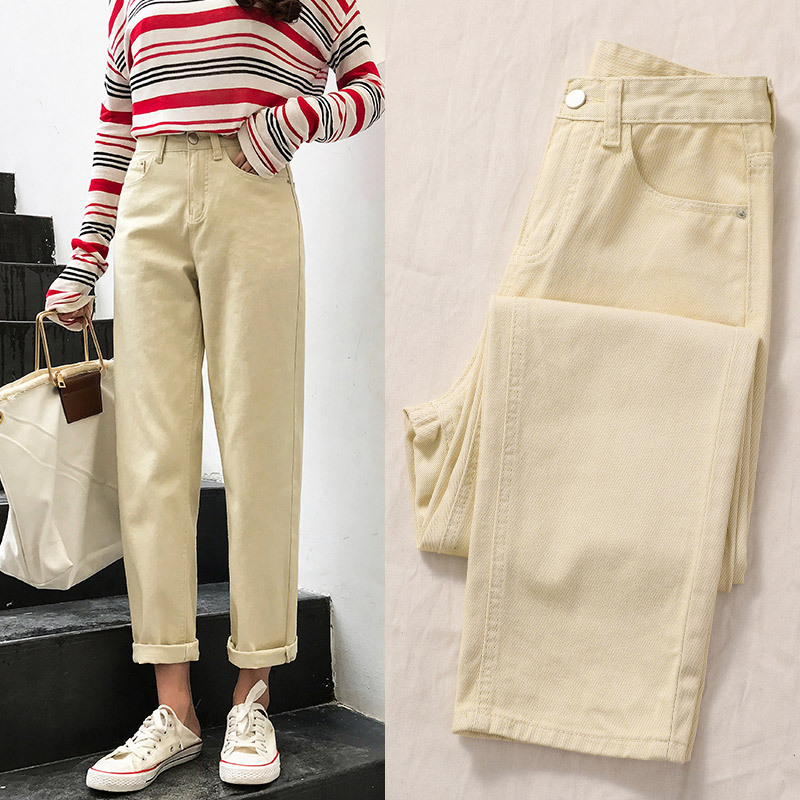 Mom Jeans Cintura Alta Vintage Ladies Boyfriend Jeans For Women Loose Fashion Wide Leg Pants Off White Black Feminina Trousers21
