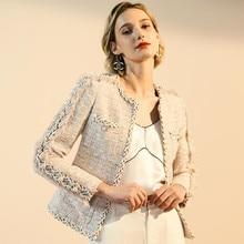 лучшая цена Women Chic Elegant Tweed Blazer Fringe Long Sleeve Coat Jacket Cotton Wool Casual Vintage Ladies Woolen Autumn Winter Outerwear