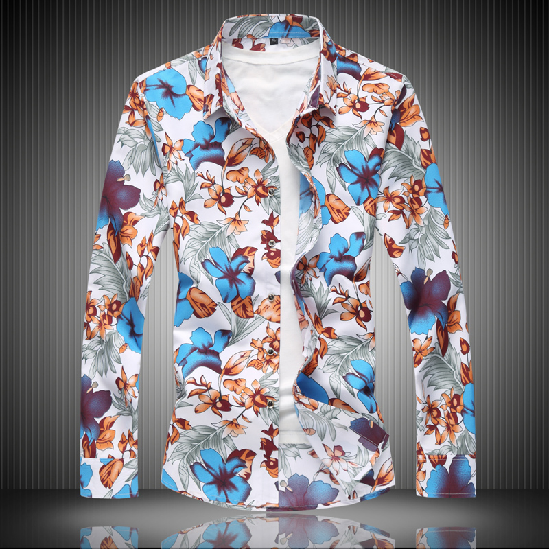 Shirt Men Long Sleeve High Quality 2019 New Fashion Floral Spring Autumn Casual Shirts Clothes