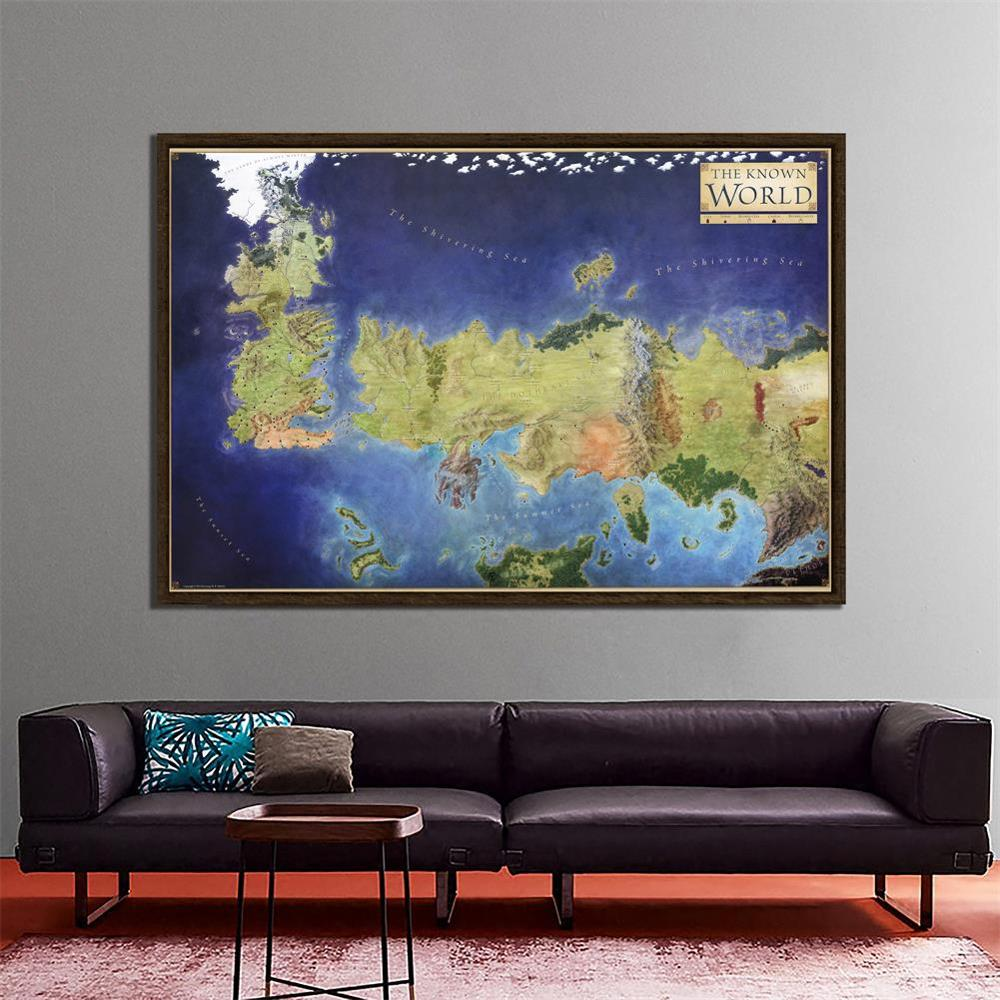 150x100cm Games Of Thrones Non-woven Wall Art The Map Of The Known World Poster Home Bar Decor