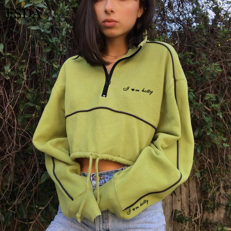 FSDA Green Crop Women Sweatshirt Zipper Long Sleeve Turtleneck Casual Streetwear Cotton Autumn Winter 2019 Top