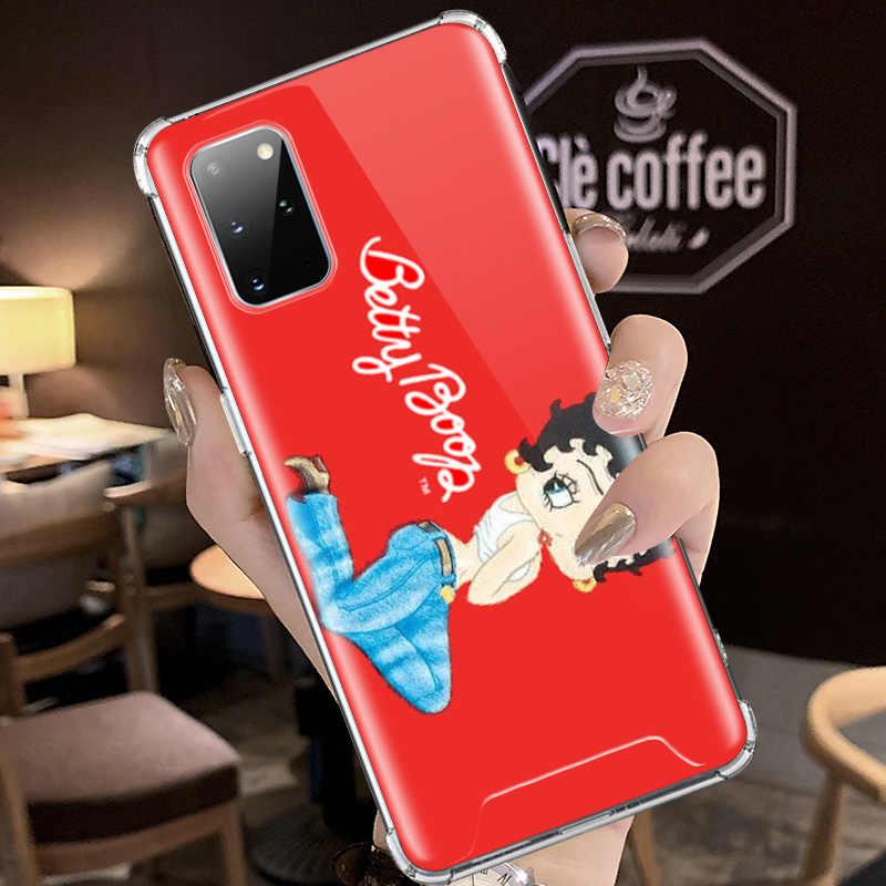 Betty Boop ใหม่สำหรับ Samsung Galaxy S20 Ultra S10 PLUS 5G S10e S9 S8 หมายเหตุ 10 ถุงลมนิรภัยฤดูใบไม้ร่วง TPU โทรศัพท์ครอบคลุม