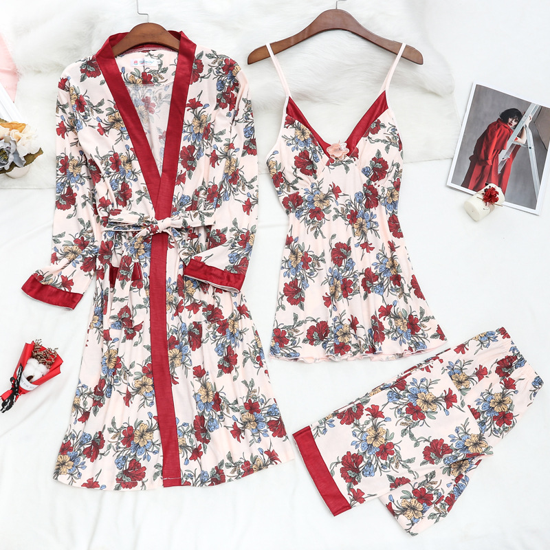 JULY'S SONG Women Cotton Pajamas Set 3 Pieces Sexy Delicate Lace Pajamas Spring Summer Sleepwear Trousers Soft Casual Home Wear