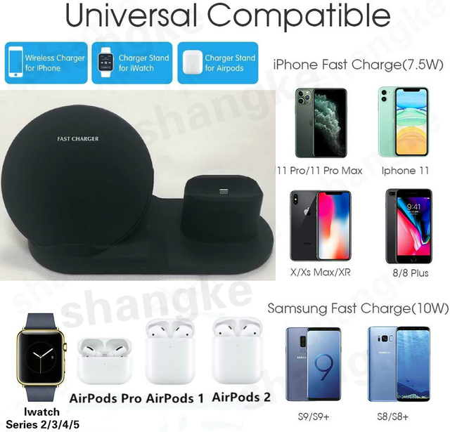 Wireless Charger Stand for iPhone AirPods Apple Watch, Charge Dock Station Charger for Apple Watch Series 5/4/3/2 iPhone 11 X XS 2