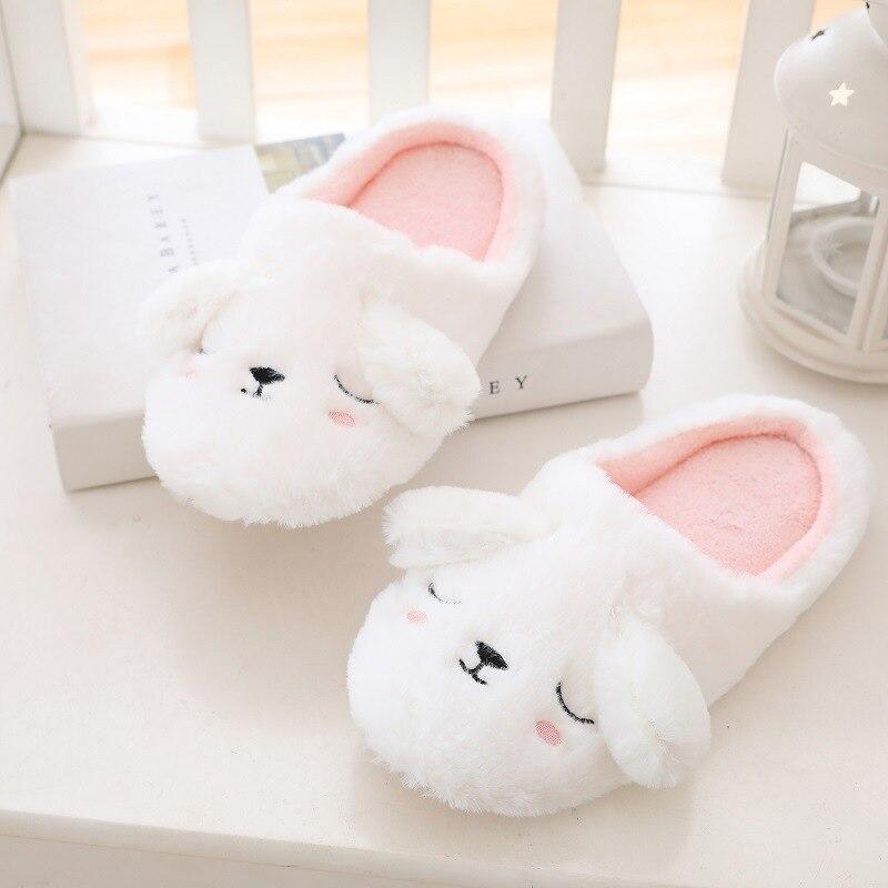 MAGGIE'S WALKER Women's Winter Home Furry Rabbit Ears Indoor Slippers Cute Animal Winter Fur Home Shoe Warm Women Slippers