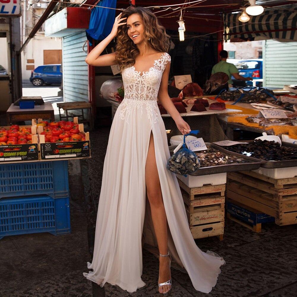 Sexy Boho Wedding Dress Vestidos De Novia 2020 With Side Slit Cap Sleeve Applique Beach Wedding Gowns For Bride Plus Size