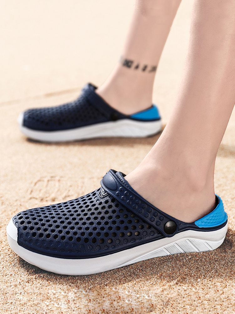 PULOMIES Bathroom Slippers Clogs Couple Mules Garden-Shoes Beach-Sandals Men's Casual