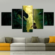 Print 5 pieces Canvas Kid and Black Panther in the Jungle Book Comics Movie Painting Modern Home Decor Wall Art Print Picture футболка print bar jungle