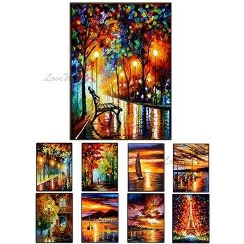 3D paisaje grueso arte pintado a mano calle noche cuchillo pintura al óleo arte lienzo pared arte pinturas abstractas arte para la vida habitación