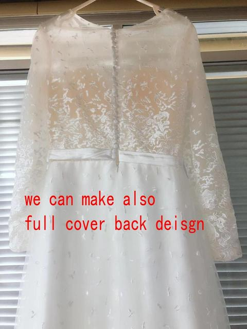 Scoop Scatted Lace Long Sleeves Champagne Wedding Dress Open Back Tulle Applique Fashion Bridal Dress vestidos noiva 6