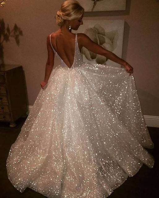 2019 Sexy V Neck Sleeveless Cheap Wedding Dress With Sequins Cut Out Back China Wedding Gowns For Marriage