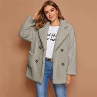 Abrigo doble botón Teddy Coat manga larga 4