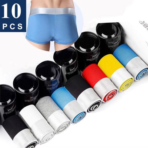 Cueca boxer masculina, roupa íntima de algodão macio, cor sólida, plus size boxer