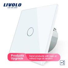 Livolo стандарт ЕС настенный выключатель 2 способ управления сенсорный экран переключатель, Хрустальная стеклянная панель, 220-250 В, VL-C701S-1/2/3/5