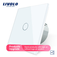 Livolo EU Standard Wall Switch 2 Way Control Touch Screen Switch, Crystal Glass Panel, 220 250V,VL C701S 1/2/3/5