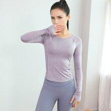 Рубашка для йоги с длинным рукавом и отверстием для большого пальца, женский спортивный топ для фитнеса, с нагрудной накладкой, высокое гибридное воздействие, ударопрочный, для тренировок, тренажерного зала, бега