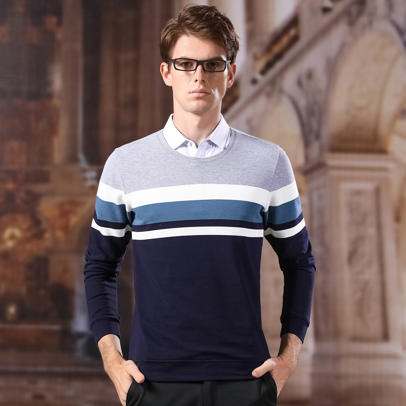 Fashion Sweaters Man Pullovers Shirt Collar Slim Fit Jumpers Knitred Fake Two Pieces Winter Korean Style Casual Mens Clothes