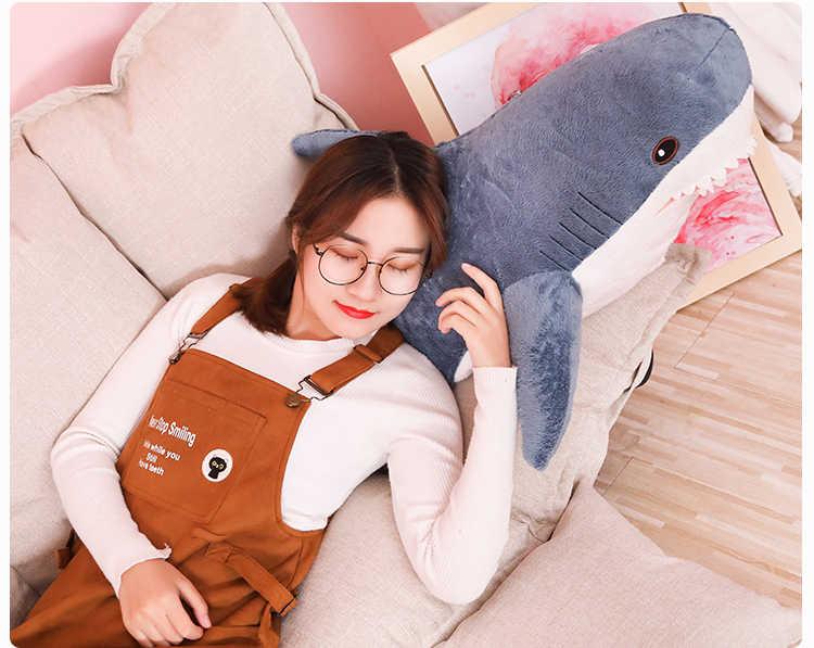 60/80/100/140cm Funny big size nadziewane shark pluszowa poduszka i zabawki super miękkie shark poduszki do spania poduszka pod plecy prezent dla dzieci