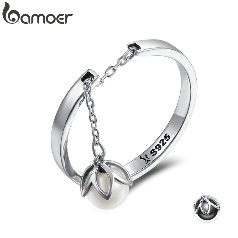 BAMOER Genuine 925 Sterling Silver Tears Of Flowers Dangle Open Finger Rings for Women Luxury Sterling Silver Jewelry SCR165(China)