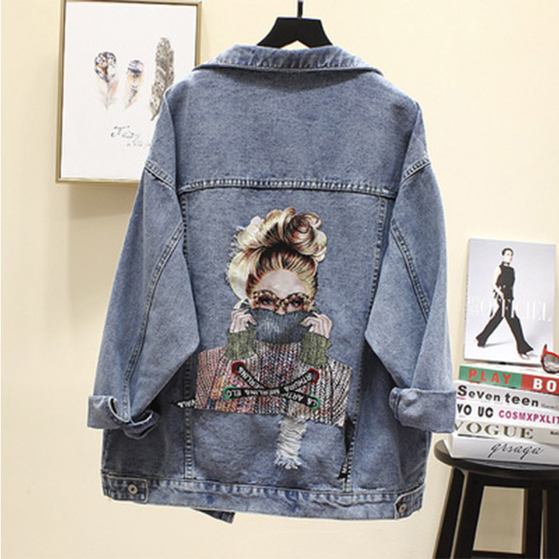 Women's Denim Jacket 2020 Harajuku Printed Frayed Beading Jeans Jacket Women's Spring Loose Casual Coat Female Jacket Outwear