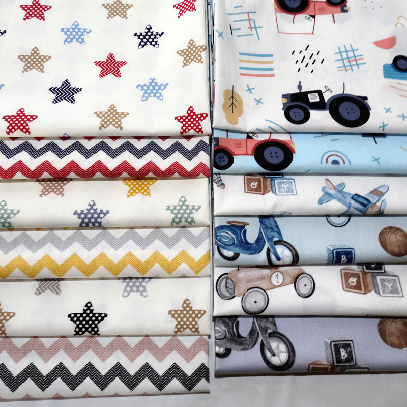 Truck and Star Cotton Fabric 100% Cotton Twill Print for Sewing Home Textile Child Dress Making Woven Soft Fabric