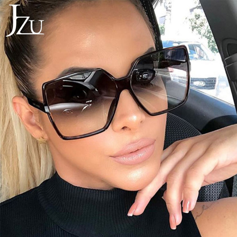 JZU Fashion Women Oversize Sunglasses Black Leopard Gradient Plastic Brand Designer Female big retro Sunglasses Women oculos