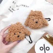 For AirPod 2 Case 3D Teddy Dog Cartoon Soft Plush Wireless Earphone Cases Apple Airpods Cute Cover Funda