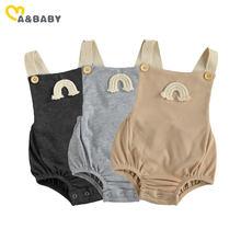 Ma & bebê 0-18m verão infantil bebê recém-nascido da menina do menino arco-íris macacão sem mangas macacão bonito roupas