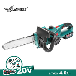 LANNERET Cordless Kettensäge Kettensäge 20V Holz Schneiden Garten Werkzeug Set 4,0 Ah Lithium-Ionen Batterie