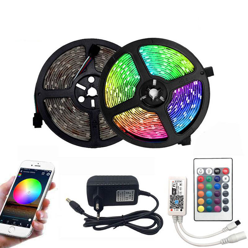 5m 10m 15m WiFi LED Strip Light RGB Waterproof SMD 5050 2835 DC12V Rgb String Diode Flexible Ribbon WiFi Contoller+Adapter Plug