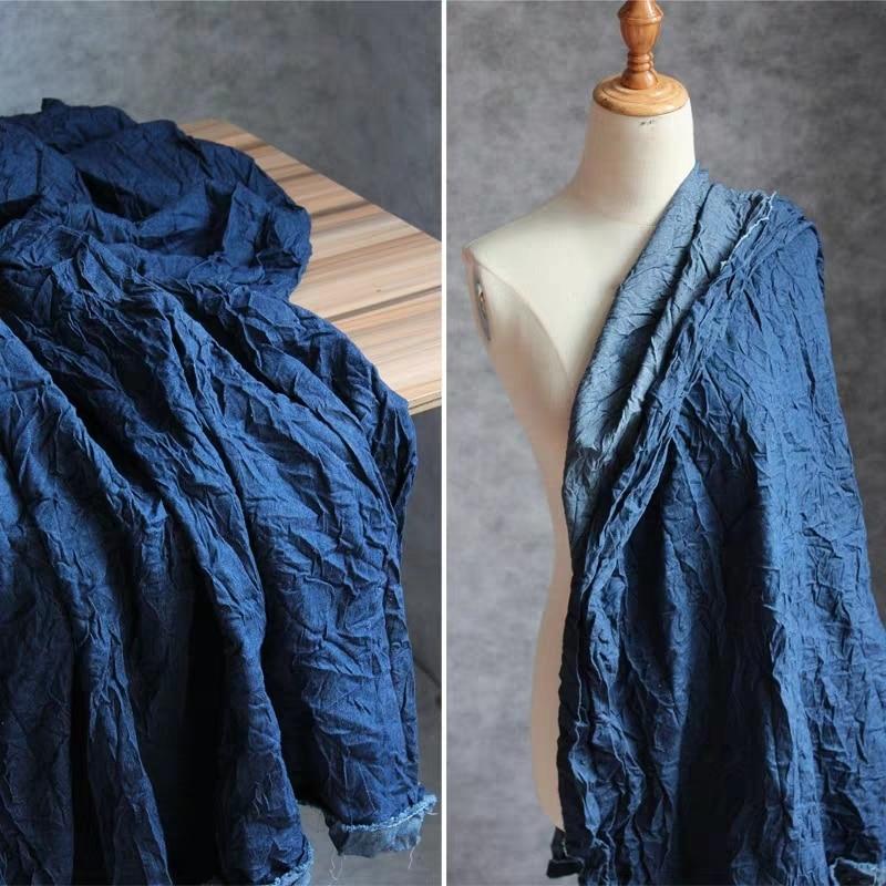 Blue Pleated Denim Cotton Fabric Microfolds DIY Patchwork Patches Jeans Coat Jacket Trousers T-Shirt Dress Designer Fabric